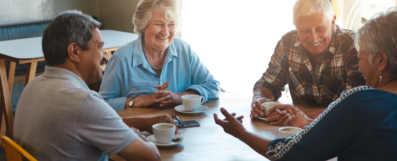 A group of seniors enjoying coffee